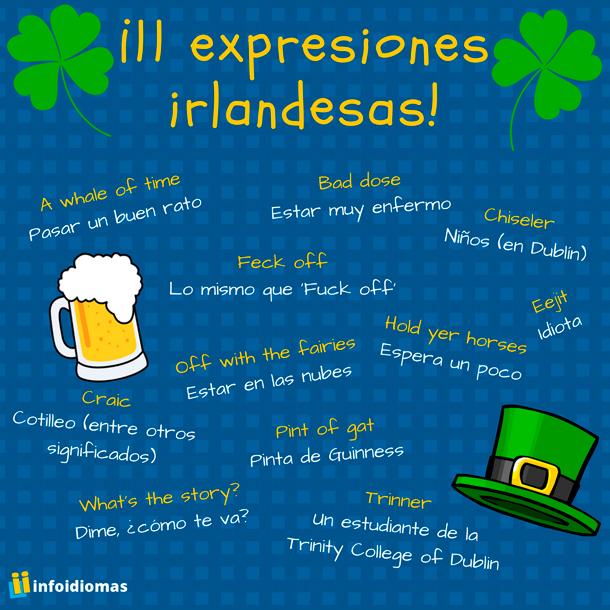 Infografía de las expresiones en inglés de Irlanda aquí comentadas