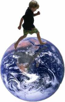 niño andando sobre planeta