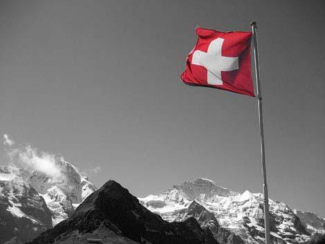 Bandera suiza en Montaña