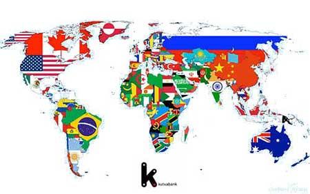mapamundi con banderas