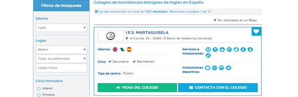 Podrás encontrar fácilmente aquellos colegios bilingües que se correspondan a tus gustos