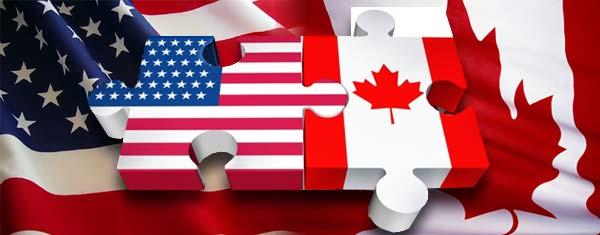 Baderas de EE.UU. y Canadá