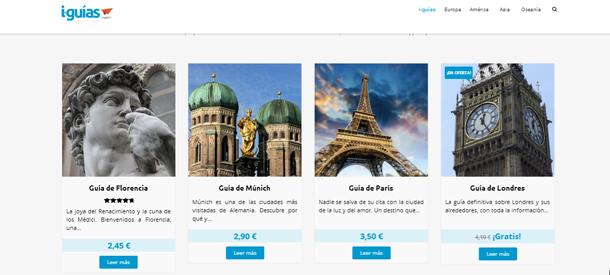 Imagen correspondiente al menú donde podrás encontrar las diversas guías de viaje personalizables